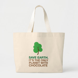 Earth, The Only Planet With Chocolate Large Tote Bag