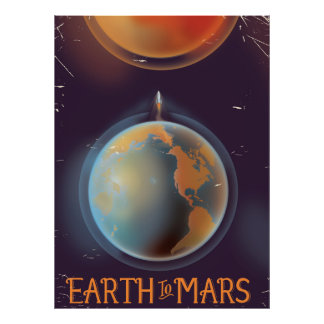 Earth To Mars Vintage Sci-Fi poster