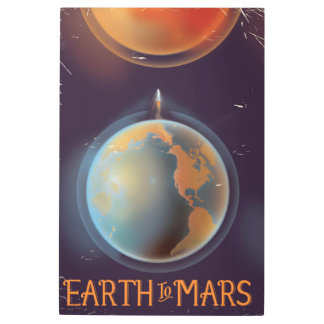 Earth to Mars vintage Science fiction poster