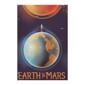 Earth to Mars vintage Science fiction poster Canvas Print