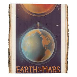 Earth to Mars vintage Science fiction poster Wood Panel