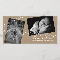 Earth Tone Brown Photo Card - Peace Love Christmas