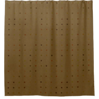 Earth Tone Dots Brown Shower Curtain