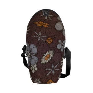 Earth Tone Floral Abstract Messenger Bag