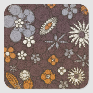Earth Tone Floral Abstract Square Sticker