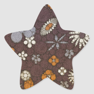 Earth Tone Floral Abstract Star Sticker