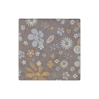 Earth Tone Floral Abstract Stone Magnet