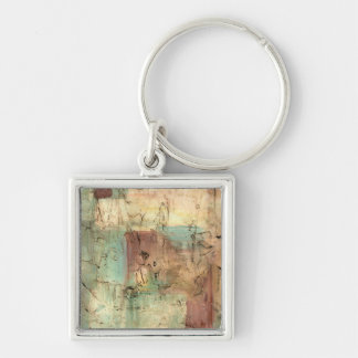 Earth Tone Painting with Cracked Surface Keychain