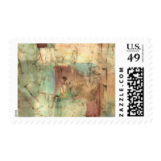 Earth Tone Painting with Cracked Surface Postage
