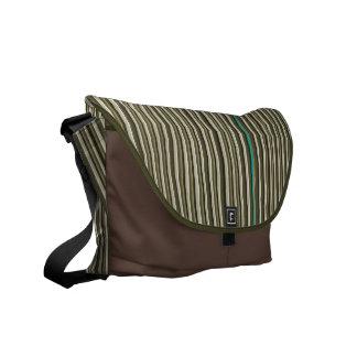 Earth Tone Pin Stripes Mens Messenger Courier Bag