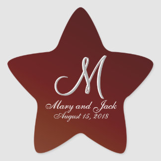 Earth Tone Red 3d Monogram Star Sticker