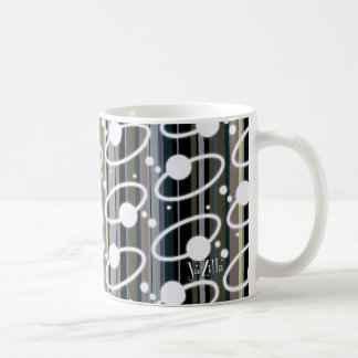 Earth Tone Retro Stripes & Orbits Coffee Mug