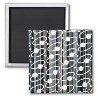 Earth Tone Retro Stripes & Orbits Magnet