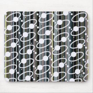Earth Tone Retro Stripes & Orbits Mouse Pad