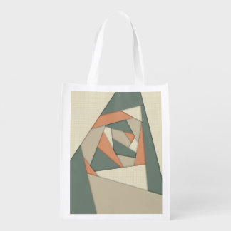 Earth Tone Shapes Construct Grocery Bag