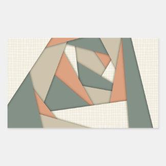 Earth Tone Shapes Construct Rectangular Sticker