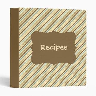 Earth Tone Striped Recipe Binder