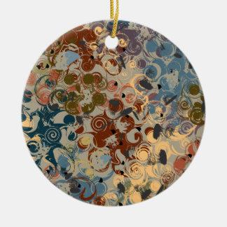 Earth Tone Swirl Ceramic Ornament