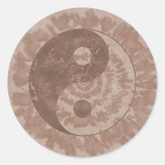 Earth Tone Tie Dye Yin Yang Classic Round Sticker