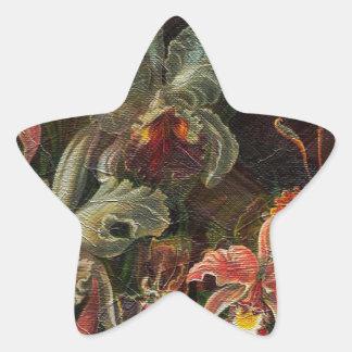 Earth Tone Vintage Flowers Star Sticker
