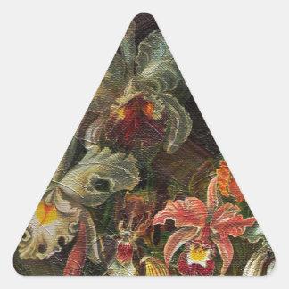 Earth Tone Vintage Flowers Triangle Sticker