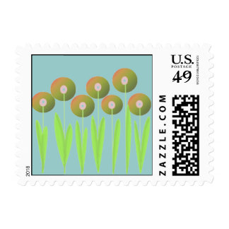 Earth Tone Whimsical Flowers Postage