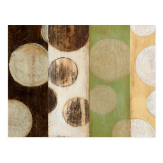 Earth Tone Wood Panel Painting with Circles Postcard