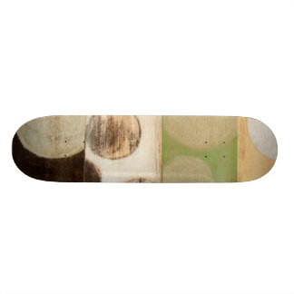 Earth Tone Wood Panel Painting with Circles Skateboard Deck