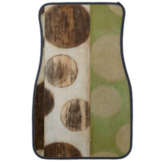 Earth Tone Wood Panel Painting with Circles Car Mat