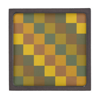 Earth toned checker pattern. gift box