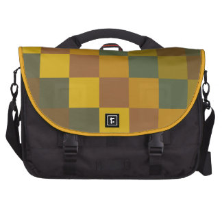 Earth toned checker pattern. laptop commuter bag