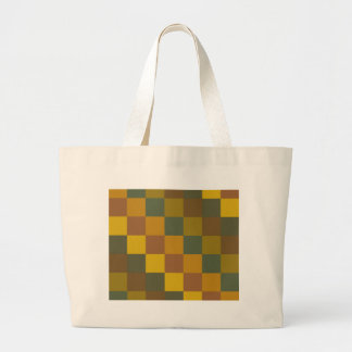 Earth toned checker pattern. tote bags