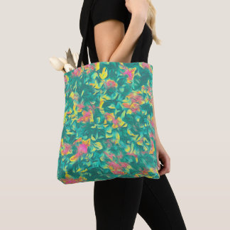 Earth Toned Multi-Color Floral Pattern Tote Bag