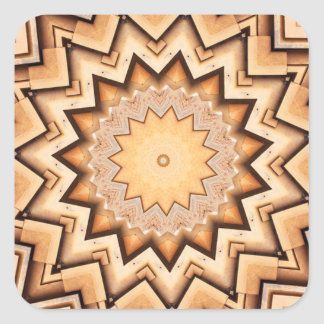 Earth Toned Spiral, Kaleidoscope Square Stickers