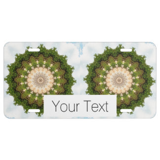 Earth Toned Spiral, Tree Kaleidoscope License Plate