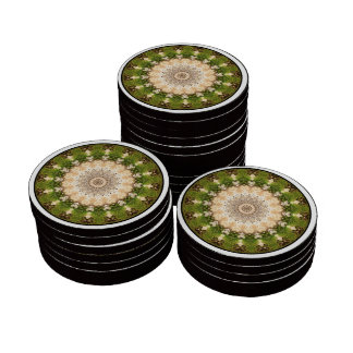 Earth Toned Spiral, Tree Kaleidoscope Set Of Poker Chips