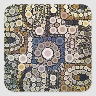 Earth Tones Concentric Circles Mosaic Pattern Square Sticker