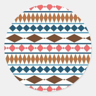 Earth Tones Geometric Tribal Pattern Classic Round Sticker