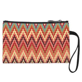 Earth Tones Ikat Chevron Zig Zag Stripes Pattern Wristlet Clutches