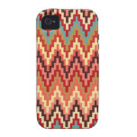 Earth Tones Ikat Chevron Zig Zag Stripes Pattern iPhone 4/4S Covers