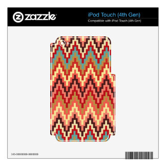 Earth Tones Ikat Chevron Zig Zag Stripes Pattern Decal For iPod Touch 4G