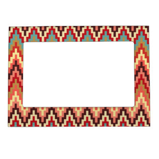 Earth Tones Ikat Chevron Zig Zag Stripes Pattern Magnetic Picture Frame