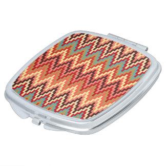 Earth Tones Ikat Chevron Zig Zag Stripes Pattern Travel Mirrors