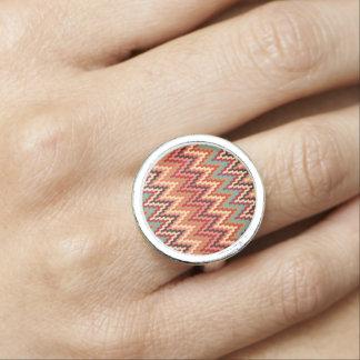 Earth Tones Ikat Chevron Zig Zag Stripes Pattern Ring