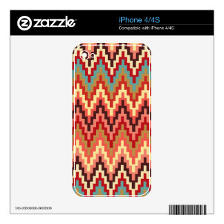 Earth Tones Ikat Chevron Zig Zag Stripes Pattern Skin For The iPhone 4S