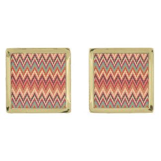 Earth Tones Ikat Chevron Zig Zag Stripes Pattern Cufflinks