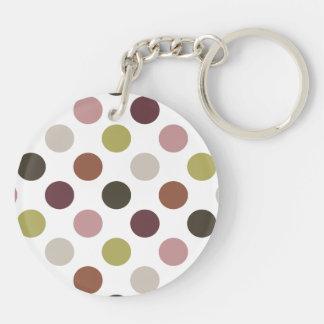 Earth Tones Polka Dots Keychain