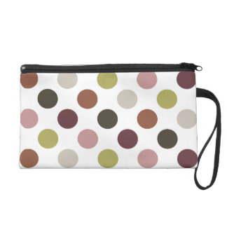 Earth Tones Polka Dots Wristlet Purse