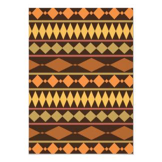 Earth Tones Tribal Design Geometric Pattern 5x7 Paper Invitation Card