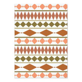 Earth Tones Tribal Geometric Pattern 5x7 Paper Invitation Card